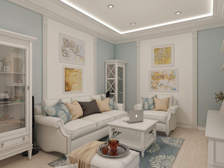 Гостиная спланирована как зона отдыха семьи. Она оформлена в традиционной гамме, которая много столетий назад стала символом достатка и доблести: белый и бледно-голубой.