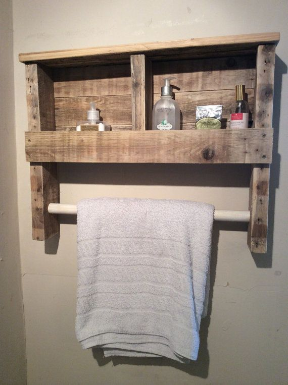 Rustic Wooden Towel Rail with Shelf made from by PalletGenesis. Best 25  Wooden towel rail ideas on Pinterest   Baskets on shelves