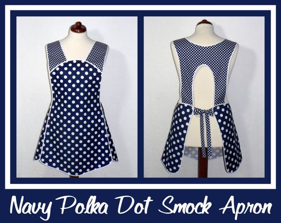 50s Smock Apron - Navy Blue and White Polka Dot Hostess Apron - all day apron, made-to-order XS to Plus Size