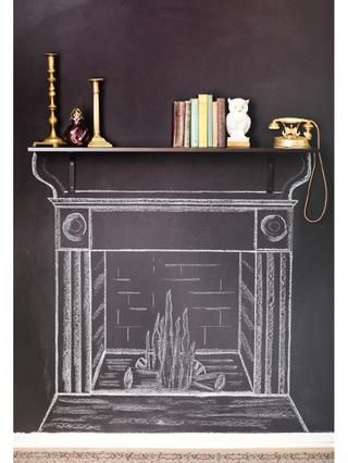 chalkboard fireplace @JenniferThomas y'all should do this on your game room chalk wall!