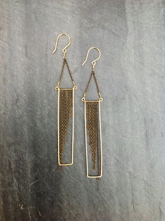 Deco Geometric Hammered Gold Rectangle Earrings with Gradient Chain Placement by Loop Jewelry-14K Goldfill-Sterling Silver-Portland Jewelry