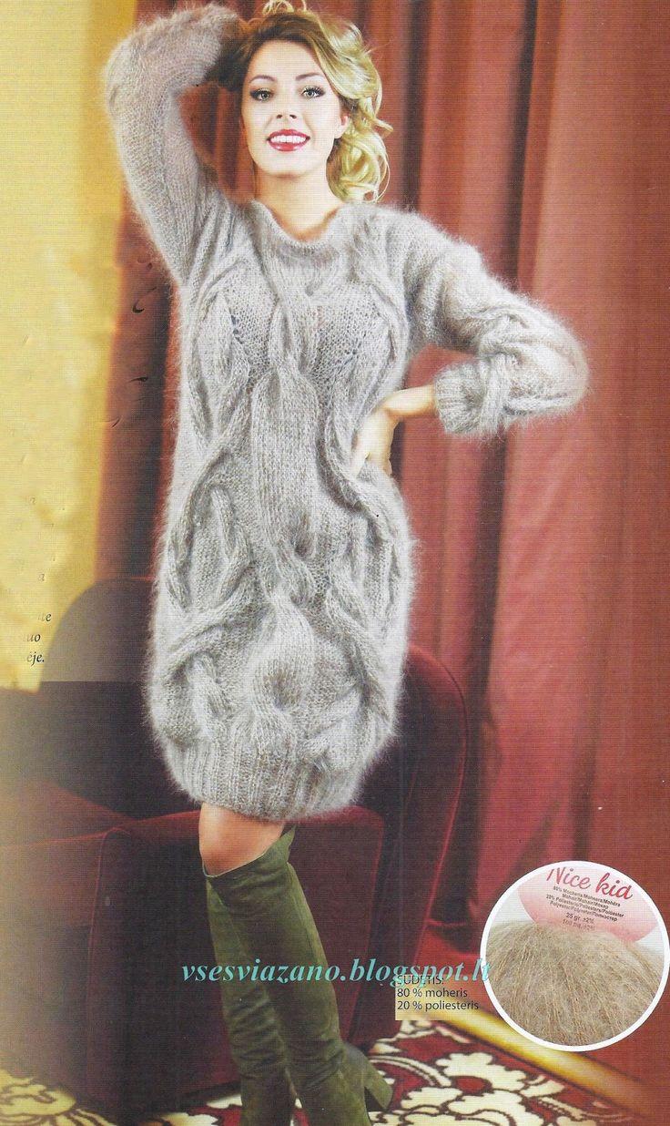 """РАЗМЕР: 38-40  ВАМ ПОТРЕБУЕТСЯ:  500 г. пряжи """"Nice Kid"""" (80% мохера, 20% полиэстера, 25г-100 м).   Теплая пушистая туника или платье..."""