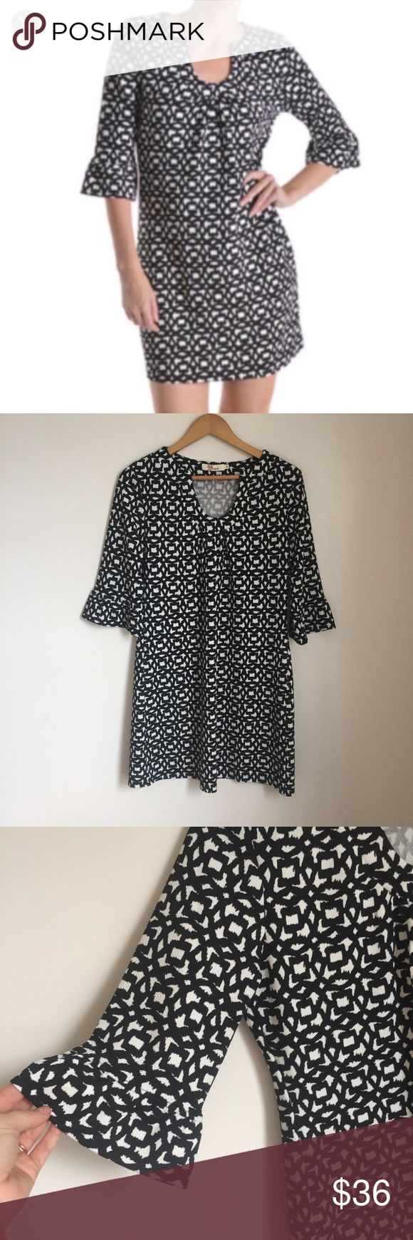 """Aryeh Black and white ruffle sleeve dress shirt Classic flattering black and white color. Notched neckline. 3/4 sleeves bell ruffle detail. Shift dress. 36"""" long 20"""" pit to pit Size XL Aryeh Dresses"""