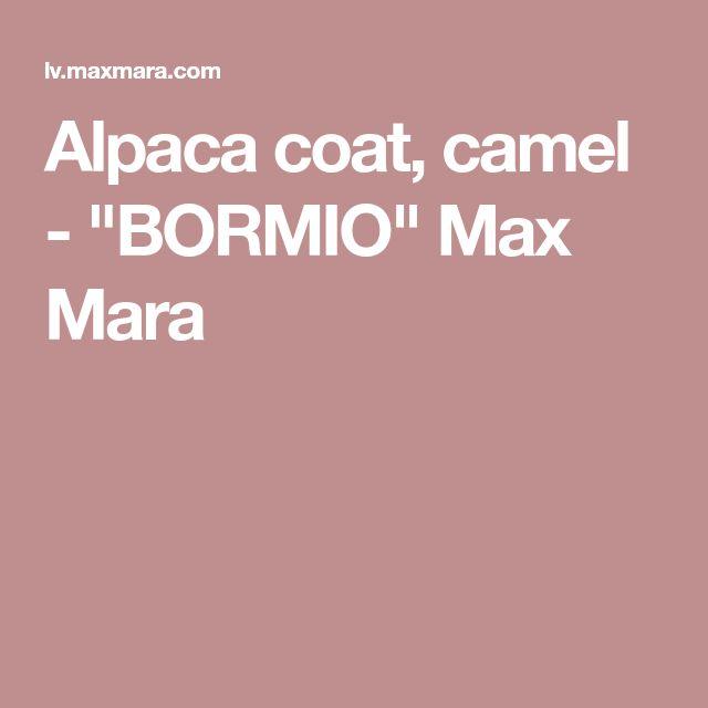 """Alpaca coat, camel - """"BORMIO"""" Max Mara"""