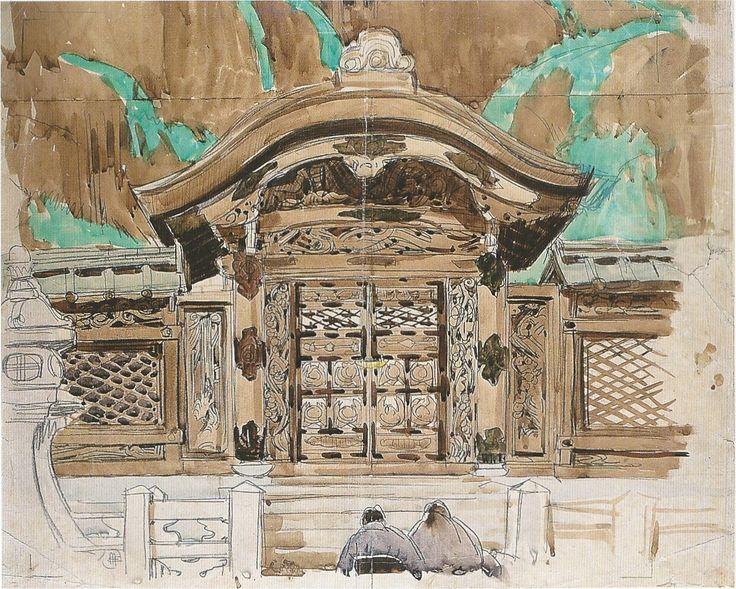 Mathurin Méheut Temple bouddhique de / Buddhist temple of Higashi Otani Crayon et aquarelle sur papier / Pencil and watercolour on paper 46 x 57.7 cm 1914