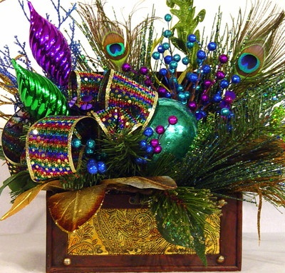 Peacock Treasure Chest Centerpiece Floral Arrangement $149.95 design by Cabin Cove Creations ...If sold stop by the cabin and check out all my other unique designs :) ... Click here ...  http://www.etsy.com/shop/cabincovecreations?ref=si_shop