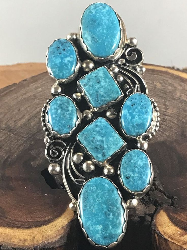 NAVAJO ~HUGE ~BLUE KINGMAN TURQUOISE ~STERLING~ SIGNED  ~RING ~ SIZE 8.75  | eBay