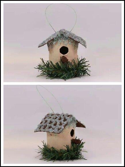 handmade paper mache bird house tree ornament