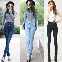 Moda Slim Kadınlar Elastik Bel Yüksek Bel Skinny Uzun Kalem Pantolonlar Jeans