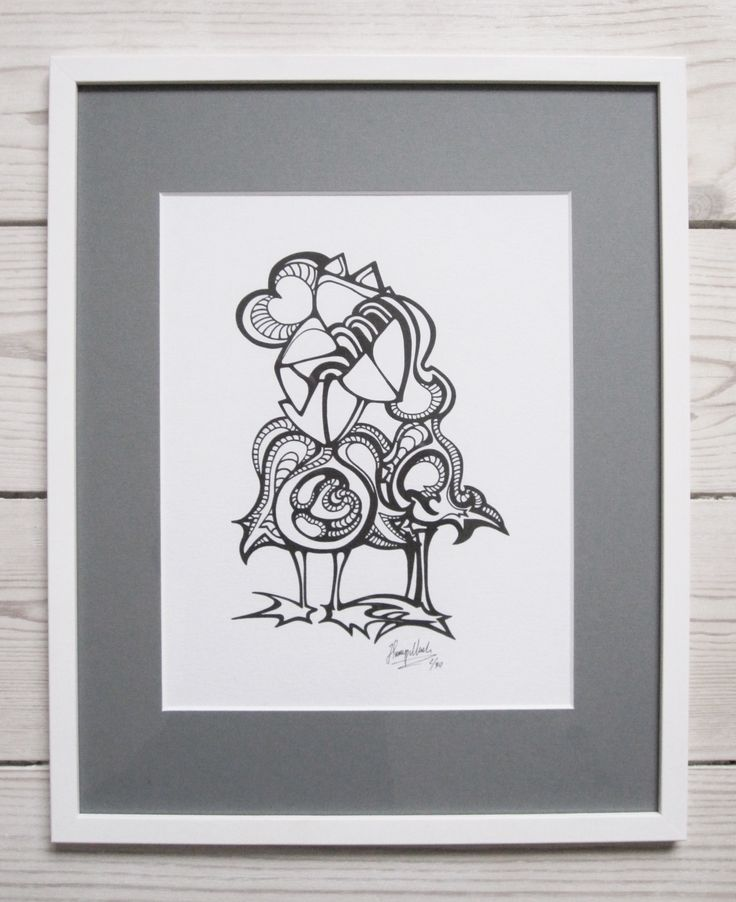 """Lovebirds"" by hurupmunch Printed illustration on akvarel paper A4: Dkk 150,- Printed illustration in passepartout and painted wood frame: Dkk 350,-"