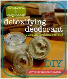 DIY deodorant - coconut oil, baking soda, arrowroot powder, bentonite clay (it's a natural detoxifier), and tea tree oil.