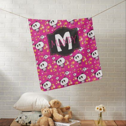 Pink Pandas Baby Blanket  Cute Girly Personalized - baby gifts giftidea diy unique cute