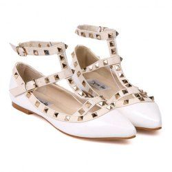 Sweet Women's Flat Shoes With Rivets and Openwork Design | White size 39