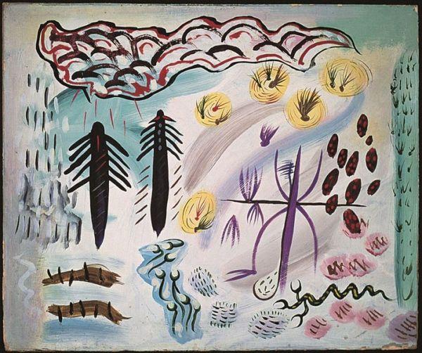 Tree People, 1947, oil painting - Len Lye