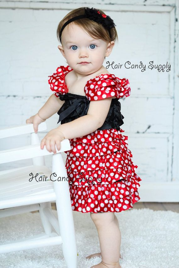 Minnie Mouse inspired Red Polka Dot Ruffle Satin Dress - Birthday Outfit, Halloween Costume on Etsy, $26.50