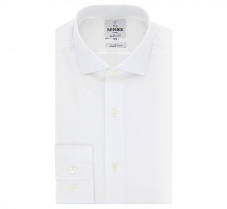 Chemise blanche col italien arrondi tailored fit