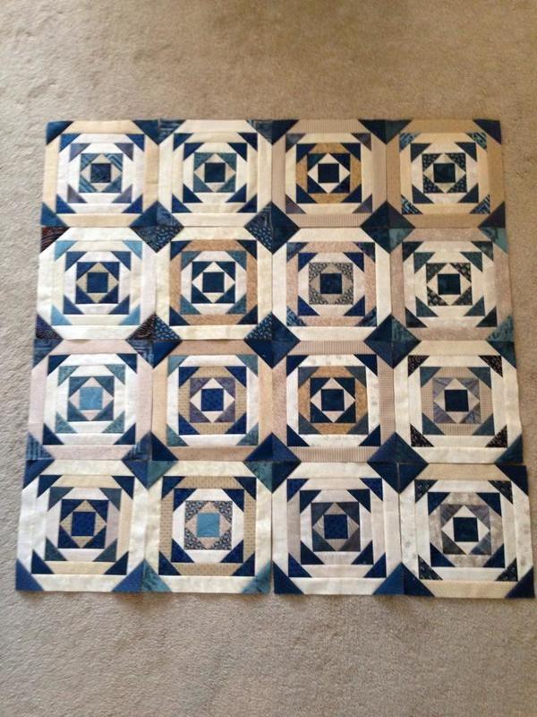 "from: Kari Smith-Ruedisale: ""Progress on my Pineapple quilt!  So easy using the Creative Grid Pineapple ruler!"""