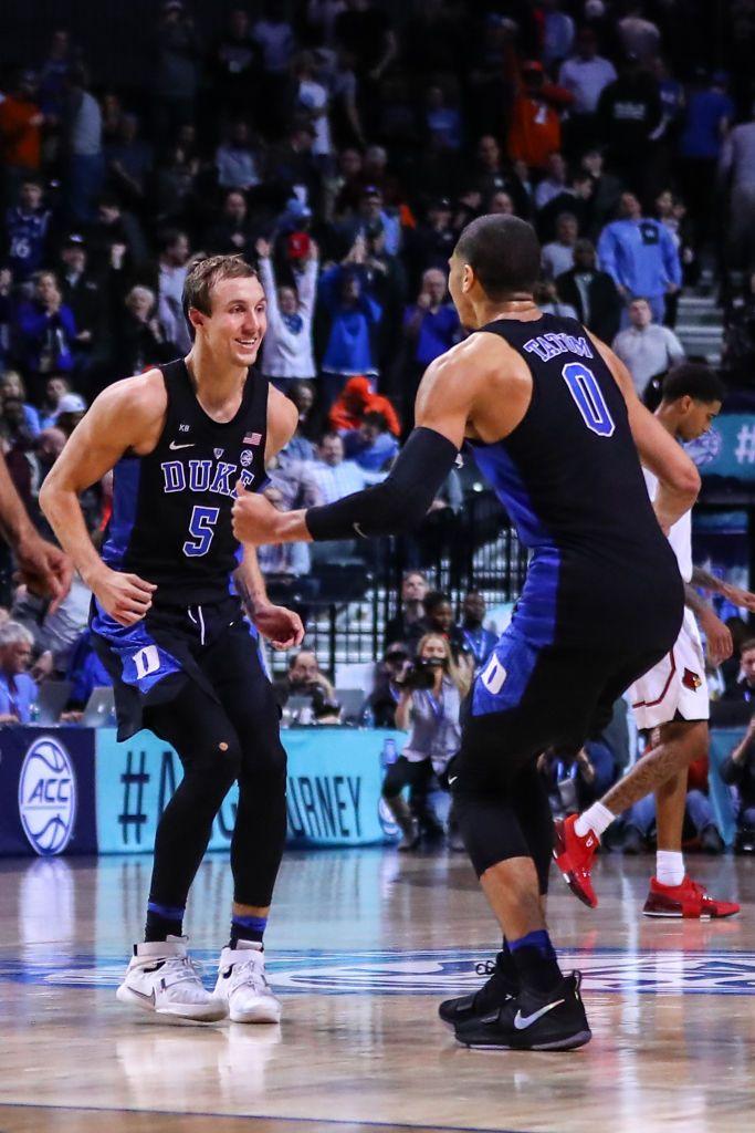 d7888f674 Duke Blue Devils guard Luke Kennard celebrates with teammate Duke ...