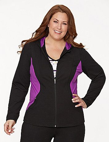 Sporty style for your most active or casual days, our zip-up hoodie is a winning choice with breathable mesh sides for a trendy and flattering colorblock effect. #LaneBryant
