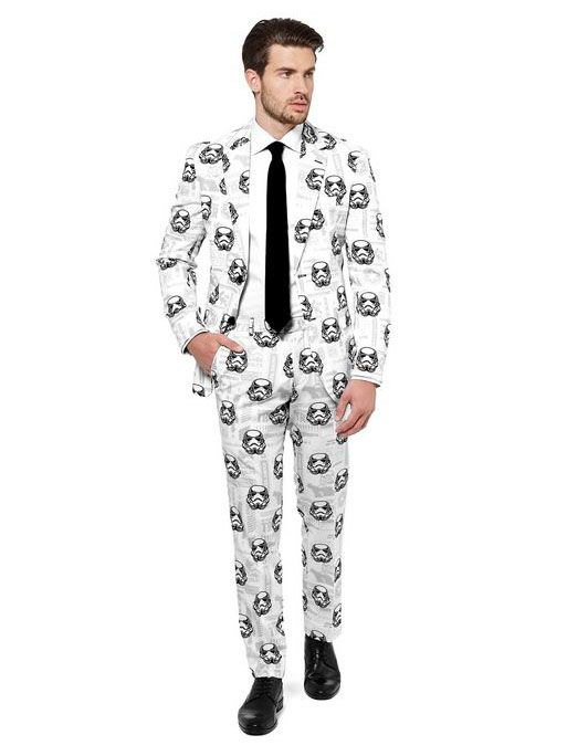 Hochwertiger Anzug für Herren von Opposuits™, mit Star Wars™ Stormtroopern bedruckt. Bestehend aus Sakko, Hose und Krawatte.