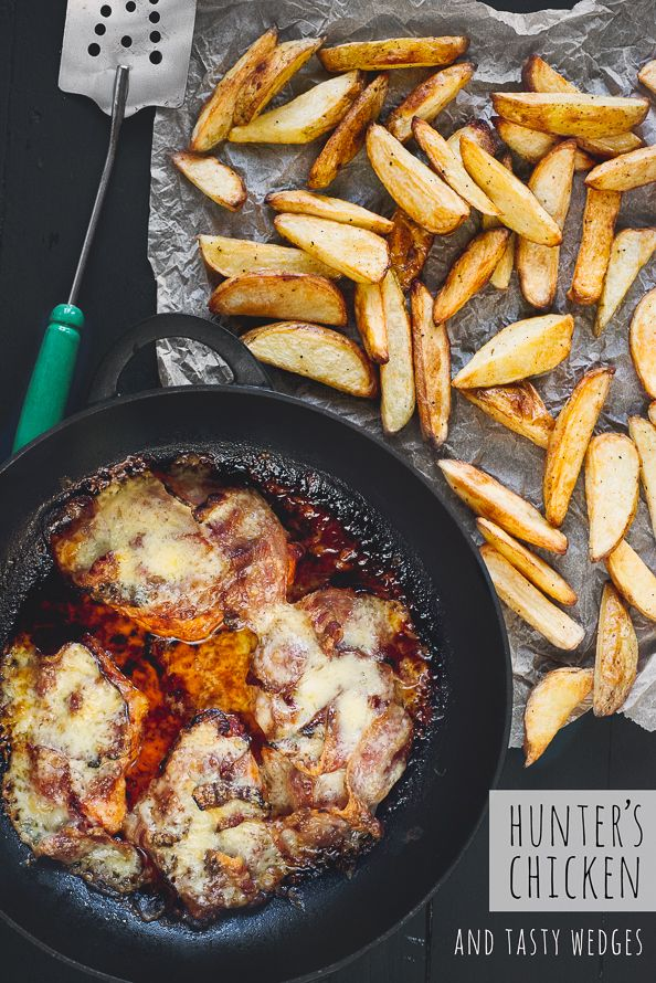 Hunter's Chicken and Tasty Wedges on things{we}make. An easy, all in the oven, Autumn meal.