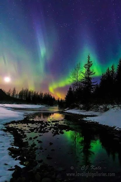 Aurora Borealis - The Northern Lights. Natures beauty. A beautiful mixture of colors in the sky.