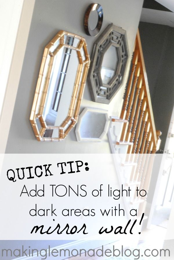 Quick Tip to Add Light to Dark Rooms {Hang a Mirror Wall} ... Add mirror collection (& I KNEW I was saving all those for a REASON) above dining room chest