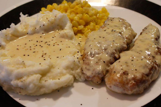The gravy in this recipe probably runs through my veins (and I realize that isn't so healthy!), but I have literally been eating this meal since the beginning of my existence. My great-grandma used to