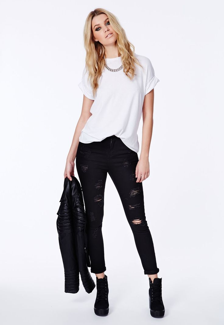 8 Best Perfect Black Distressed Jeans Outfit Images On Pinterest | Distressed Jeans Outfit Jean ...