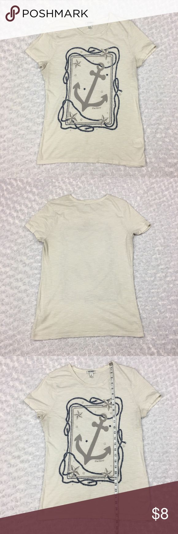 Off White Tshirt Top Nautical Theme Anchor Stars Old Navy Women's Off White Capsleeve Tshirt Top Nautical Theme Anchor Stars Rope  Size: Womens LARGE. SEE PHOTOS FOR MEASUREMENTS  Condition: Good used condition. SEE PHOTOS  * This listing is for ONE (1) Top *   * See photos for measurements and more details *  Please note: Color may vary slightly due to different display screen calibrations.  [D-39] Old Navy Tops Tees - Short Sleeve