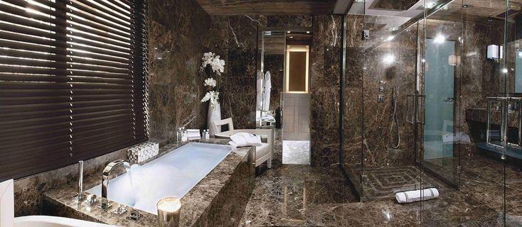 Marble Bathroom, Chalet Brikell, Rhone-Alpes by Pure ConceptConcept 13, Puree Concept, Interiors Design, Mountain Cabin, Bathroom Ideas, Chaletbrickel, Chalets Brickell, Chalets Brikel, Luxury Chalets