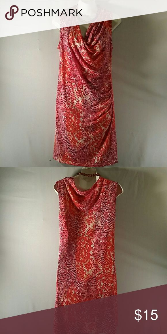"NWOT * Tunic Dress * Beautiful * Orange Multicolor * Sleeveless * Above Knee 35"" * Polyester Spandex * Bundle and Save George Dresses"