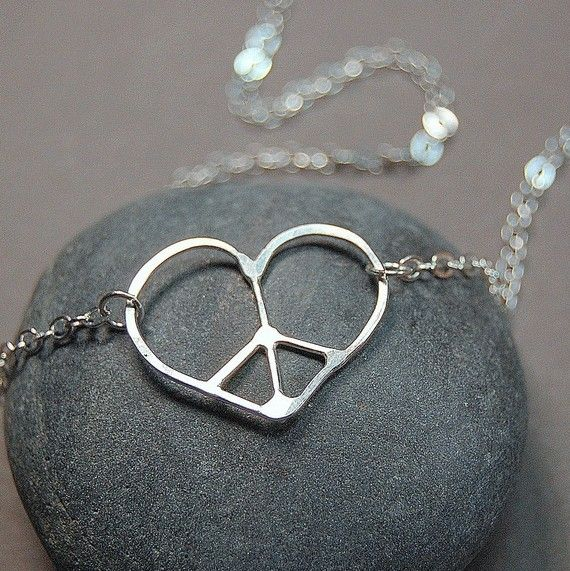 Tiny Heart Peace Sign Necklace Individually Made by lavalleygirly, $32