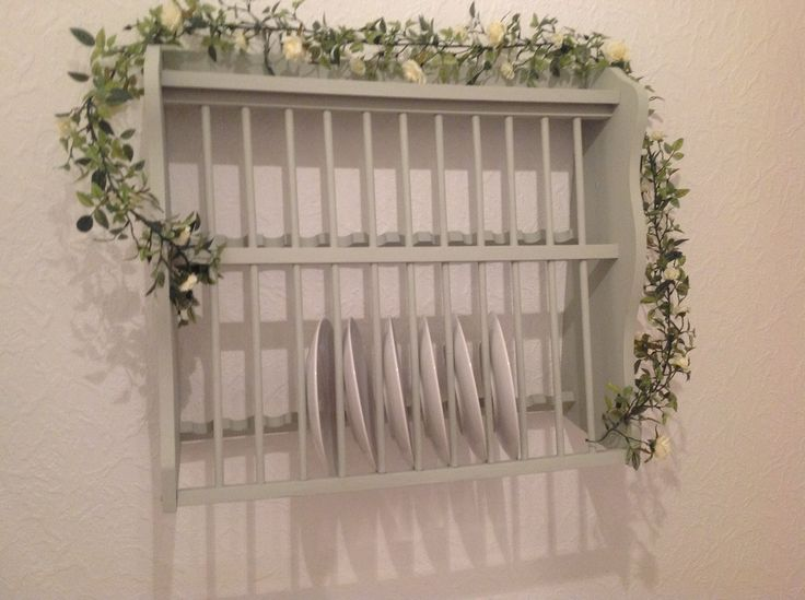 """Old plate rack. Looking refreshed in Farrow and Ball """"MIZZLE"""""""
