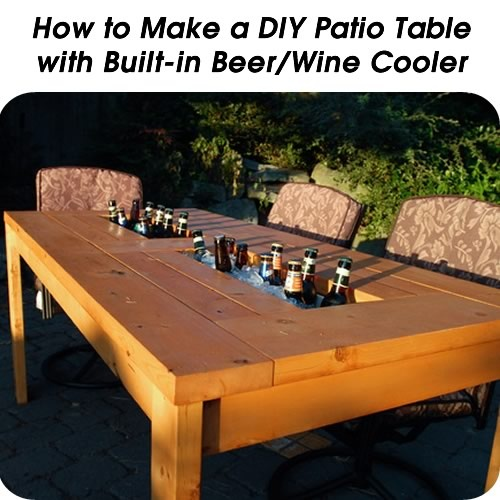 How To Make A Diy Patio Table With Built In Beer Wine