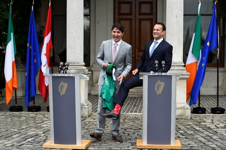 Trudeau Visits Ireland to Discuss Trade, but Host's Socks Steal the Show - The New York Times
