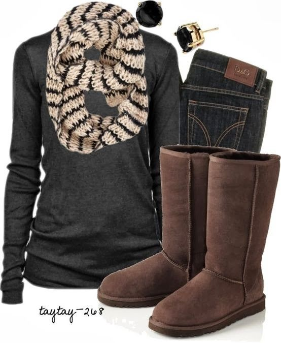 Hand woven scarf, black sweater, jeans and warm boots fashion for fall