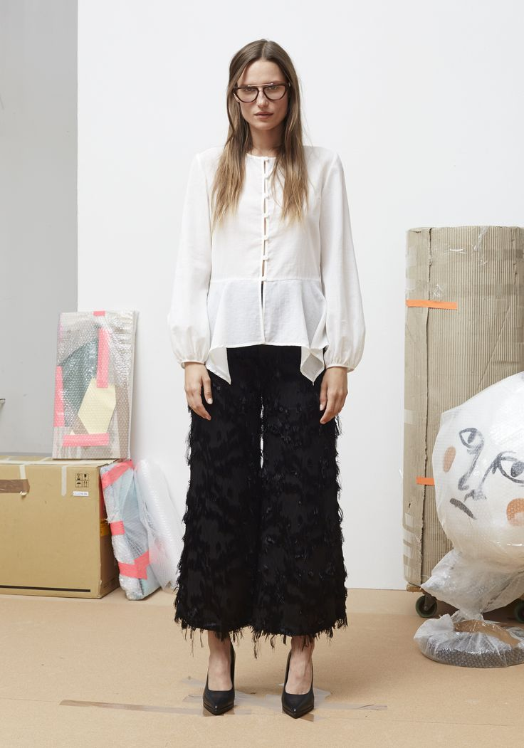 Rodebjer SS16: Top Rosa Airy White, Trousers Dama Black, Shoes Charlotte Black.
