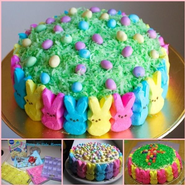 Super Cute Easter Peep Cake ! Just any cake decorated with the peeps and grassy hidden eggs. Easy and fun ! ( VIDEO) #diy #food #Easter by lorene