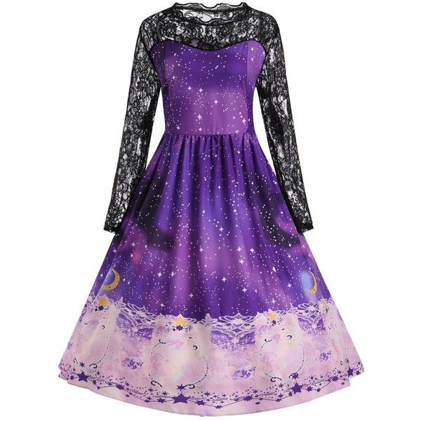 Plus Size Christmas Party Gown Dress with Lace Sleeves (€16) ❤ liked on Polyvore featuring dresses, christmas night out dresses, plus size going out dresses, night out dresses, purple dresses and lace-sleeve dress