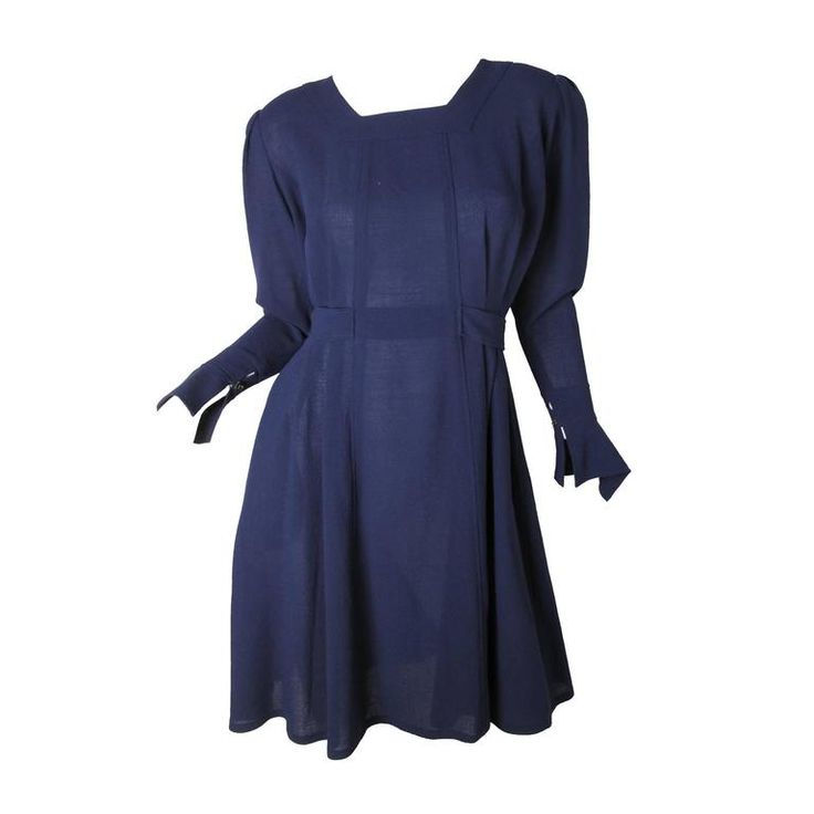 Jean Muir Navy Crepe Dress -sale | From a collection of rare vintage day dresses at https://www.1stdibs.com/fashion/clothing/day-dresses/