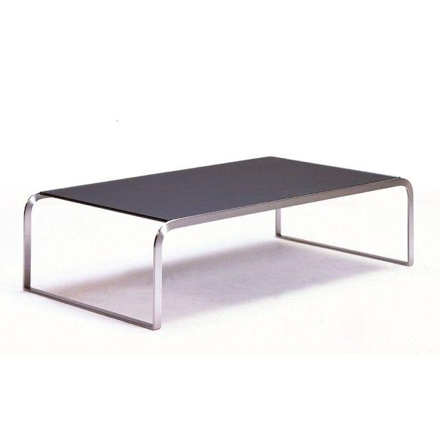 Table Basse Design De Salon Razzi Hellin Depuis 1862 Mariant L Inox Brosse Dun Pietement Au Plateau En Verre Te Table Basse Design Table De Salon Table Basse