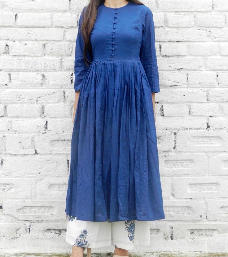 Blue & White Cotton Printed Tunic & Palazzo Set