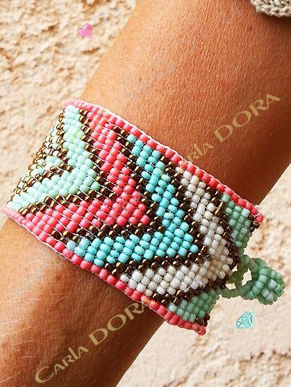 bracelet femme perles de rocaille tissees