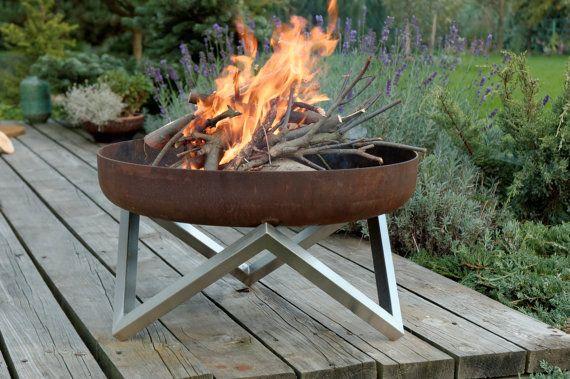 Steel Fire Pit YANARTAS Contemporary Design by ArpeStudio on Etsy