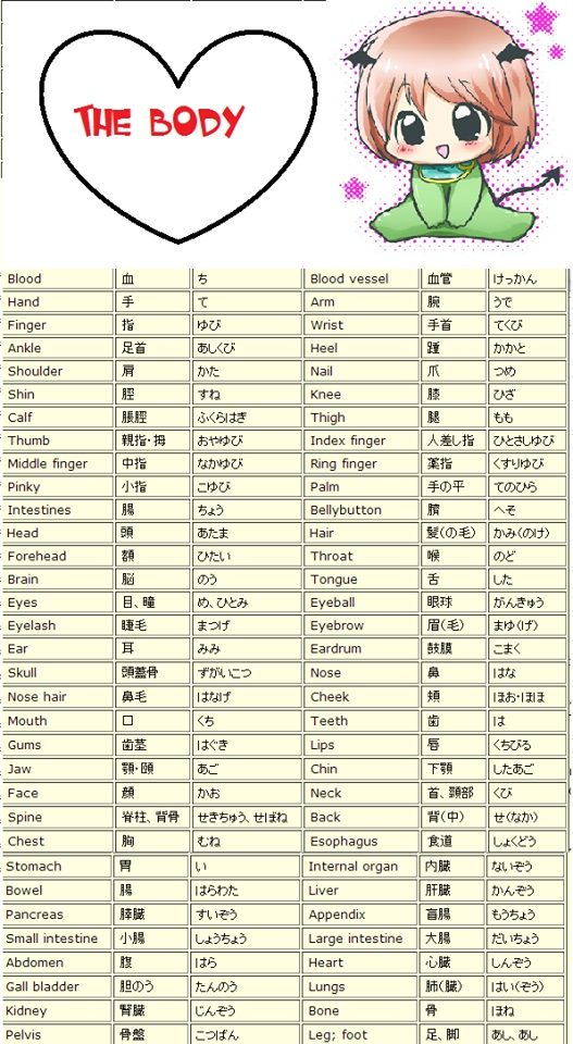 Body parts in japanese from inlovewithjapan.tumblr.com