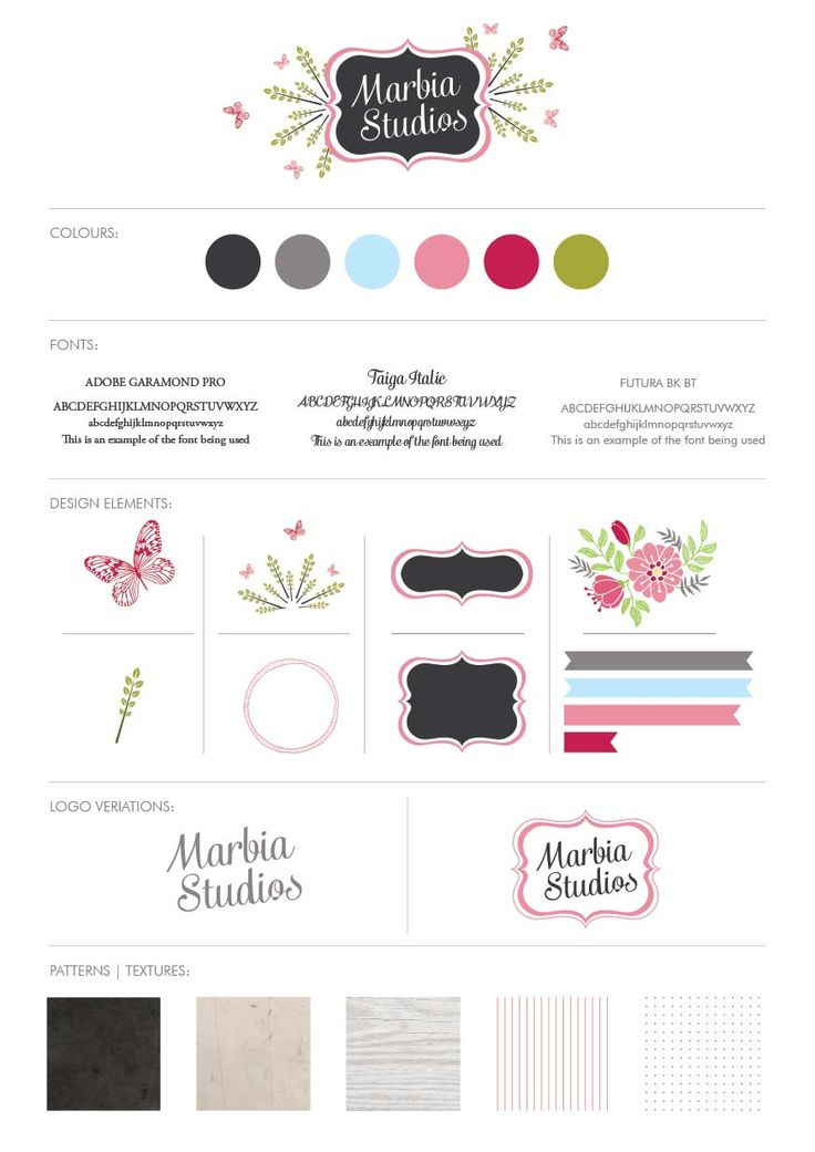 Marbia Studios Branding Style guide. I've been working on re-branding Marbia Studios for a while and decided to create a style guide so I can quickly grab elements and things I need.