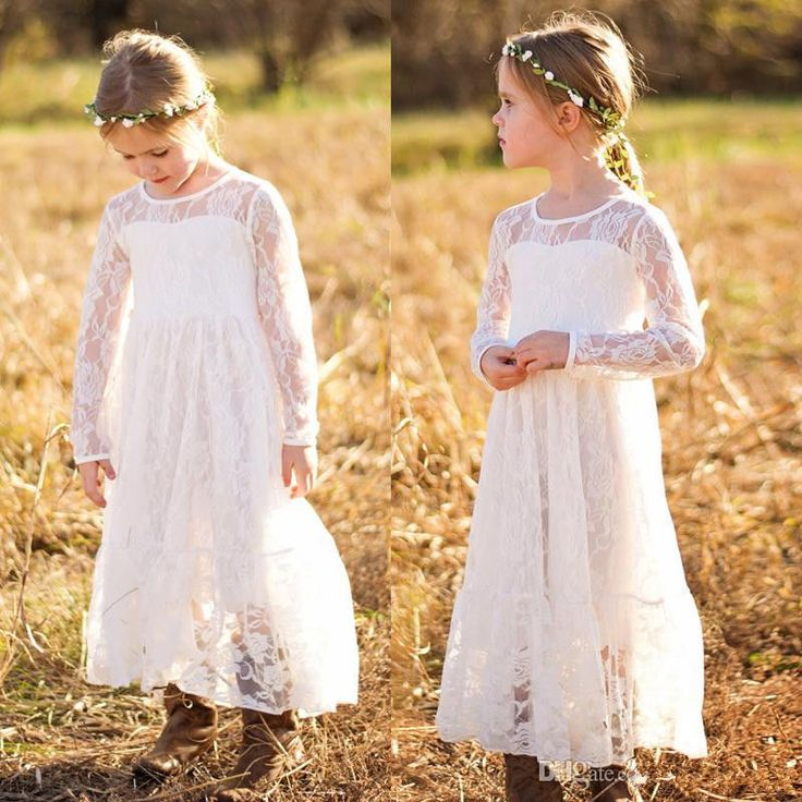 >> Click to Buy << Hot Sale Bohemian Lace Flower Girl Dress Princess Birthday Party Prom Gown NEW Little Girls First Communion Dress #Affiliate