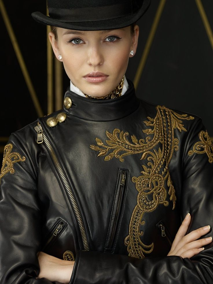 Ralph Lauren embroidered leather jacket
