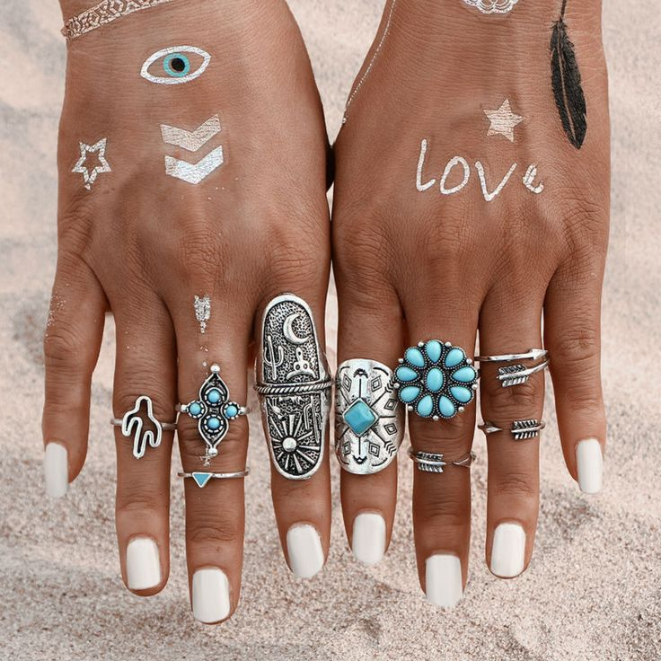 New Design 9PCS/Set Fashion Vintage Punk Bohemia Beach Rings For Women knuckle Ring Men Carving Tibetan Silver Joint Ring Set-in Rings from Jewelry & Accessories on Aliexpress.com | Alibaba Group